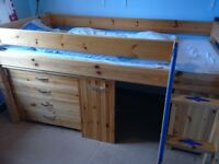 Solid wood childrens high bed chest of drawers desk shelf