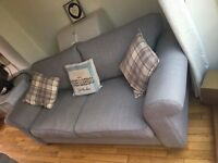 Brand New DFS grey 3 seater 2 seater sofa and storage footstall