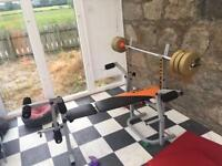 Small weights bench with weights