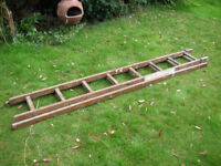 REINFORCED VINTAGE WOODEN EXTENSION LADDERS GOOD CONDITION
