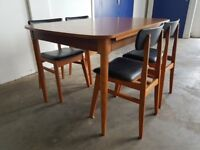 SCHREIBER EXTENDABLE DINING TABLE & CHAIRS RETRO / MID CENTURY SET DELIVERY AVAILABLE