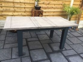 Solid Oak / Slate Grey Extending Dining Table, New / Boxed