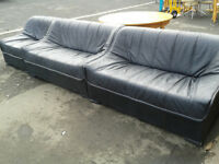 2 x 2 seater leather sofas with matching armchair
