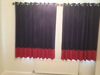 Navy &Red Eyelet Curtains and Poles