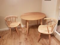 Wooden table and two chairs for sale