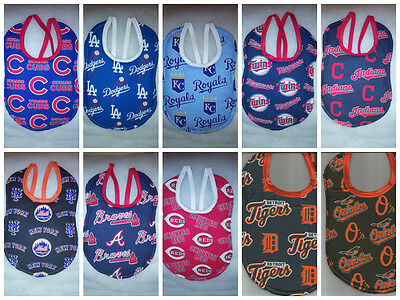 handmade baby bibs made with mlb fabric