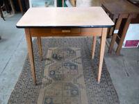 Mid Century Retro Teak Danish Style Single Drawer Wooden Writing Desk