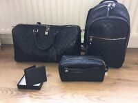 Louis Vuitton travel set rucksack backback hold-all wash bag and wallet keep all infinity graphite