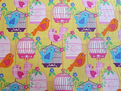 Michael Miller Fabric SING SONG Birds, Birdcages-yards
