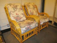 PAIR OF CANE ARMCHAIRS FREE DELIVERY