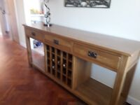 """Sideboard with 3 drawers & Winerack. Beautiful Heavy Solid Oak. 71"""" Long x 18"""" Deep x 32"""" High."""