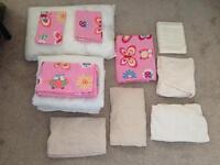 Toddler bed pink bedding bundle. Includes duvet, 2 sets of bedding + more all new