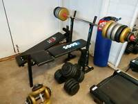 WEIGHTS BENCH WITH DUMBELLS AND BARBELLS, SIT UP BENCH AND PUNCHBAG.....BARGAIN!!!