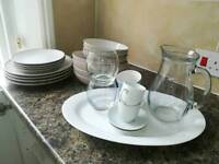 Kitchen set (normal plates, dessert plates, pasta plates, bowls, coffee cups, ramekin, glasses, jug)