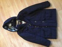 John Lewis warm duffle coat with zip, toggles and hood