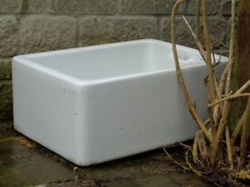 White butlers sink plant trough