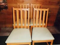 Set of 4 solid wood dining chairs - New