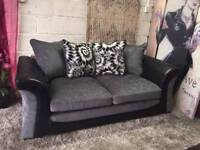 New Lawson 3 Seater Sofa In Black And Charcoal Grey Fabric