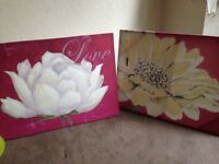 2x large canvas pink flowers as new