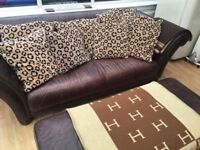 Great quality leather sofa and footstool Brown leather