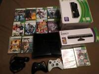 Xbox 360 S console with 12 games and 2 controllers