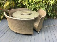 Pagoda Rattan Garden Furniture set Table and seats