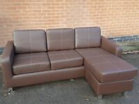 Fabulous Brand New brown leather corner sofa. delivery available
