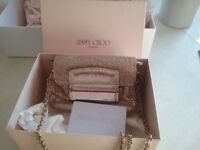 Authentic Jimmy Choo gold glitter evening bag used a few time good conditions @authenticity card