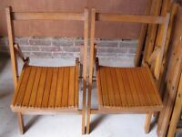 VINTAGE FOLDING WOODEN CHAIRS FROM CHURCH. £25 each. Delivery poss. ALSO PEWS & OTHER CHAPEL CHAIRS.