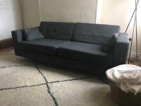 Grey modern three seater sofa