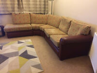 Handmade large Corner Sofa / Suite - leather and fabric