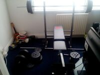 bench and weights 70 kg dumbels