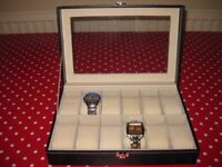 WATCH DISPLAY BOX IN DARK BROWN - HOLDS 12 WATCHES - COMES WITH TWO WATCHES