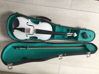 Brand new full size white violin +bowand case