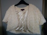 Debenhams Debut faux fur ivory/cream wedding bolero/shrug, size 16, bridal £45