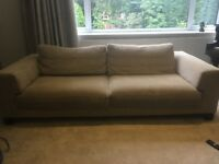 Large sofa for sale, beige fabric: must go weekend 11-12 Aug