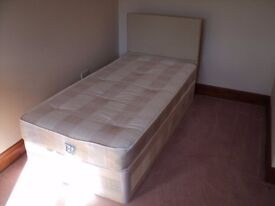 SINGLE 3 FT BED WITH HEADBOARD ONLY USED FOR 1 WEEK EXCELLENT CONDITION BASE MATTRESS AND HEADBOARD