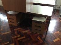 3 brown DESKS (table + drawers)