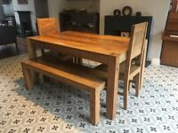 Complete mango wood dining table set up to 8 people