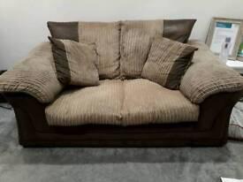 Brown cord 2 seater sofa