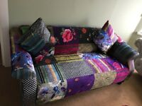 Anna shout Beautiful as new, statement sofa, 3/4 seater Beautiful fabric and cushions RRP over £600