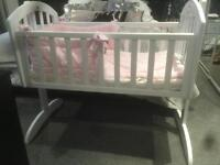 Obaby White Swinging Crib with Clair de Lune bumper and blanket in Pink