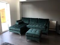 12 month old green velvet sofa for sale RRP £2789