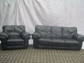 Real hide leather large 3 seater sofa with matching armchair.