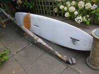 Collectors! £70. 12ft windsurfing board, made in Holland 1977. 15ft mast. Make a great paddle board!