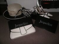Jacques Vert Hat, Shoes size 6.5 & Handbag in Cream & Black, ideal for summer wedding or race trip