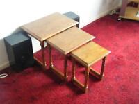 Light wood set of 3 tables