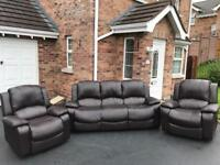 ~ Beautiful brown faux leather ~ 3-1-1 ~ sofas Suite ( armchairs recline )