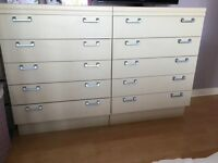 2 bedside cabinets and 2 sets of drawers