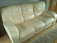 Leather cream, 3 seater sofa, Recliner, Good condition, from Smoke and pet free home
